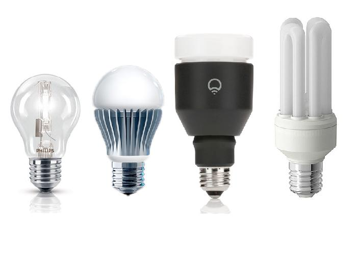Bulb VS Bulk: confronto quasi in scala tra alogena a goccia / LiFX originale / LiFX finale / lampada a risparmio energetico